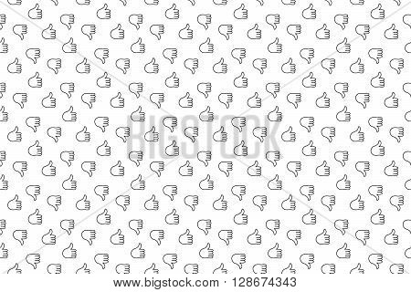 Thumb up thumb down seamless background. Vector illustration. EPS 10.