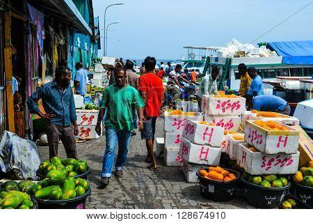 Male, Maldives - November 24, 2014: Fruit market on the beach road
