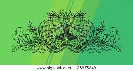 Floral natural design concept. Floral pattern on striped background. Floral ornament. Herbal floral header. Abstract design element for resort spa natural products natural cosmetics organic beauty