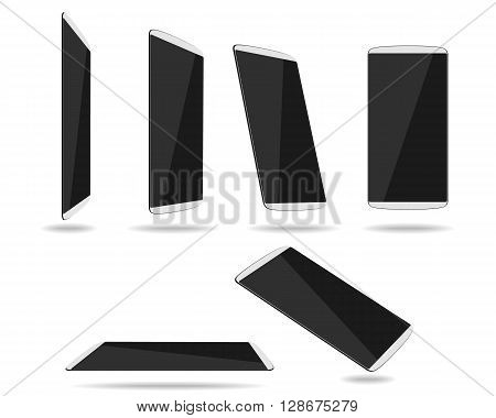 White thin smartphones face different foreshortening. Vector illustration. EPS 10. No transparency. No gradients. Raw materials are easy to edit.