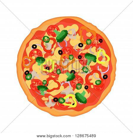 Flat Italian pizza with tomatoes, pepper, broccoli, chili peppers, olives and a variety of sauces. Hand drawn vector illustration.