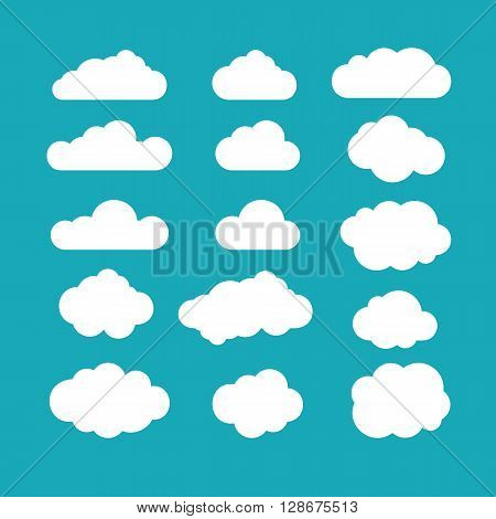 Set of blue sky clouds. Cloud icon cloud shape. Set of different clouds. Collection of cloud icon shape label symbol. Graphic element vector. Vector design element for logo web and print.