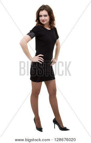Full length shot of sexy woman in little black dress, isolated on white background