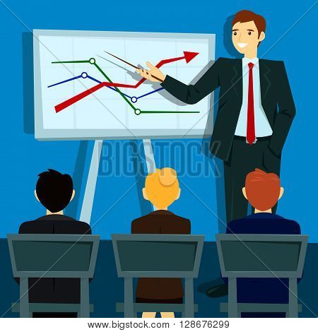 Business Presentation. Businessman Shows Statistics on Board. Vector illustration