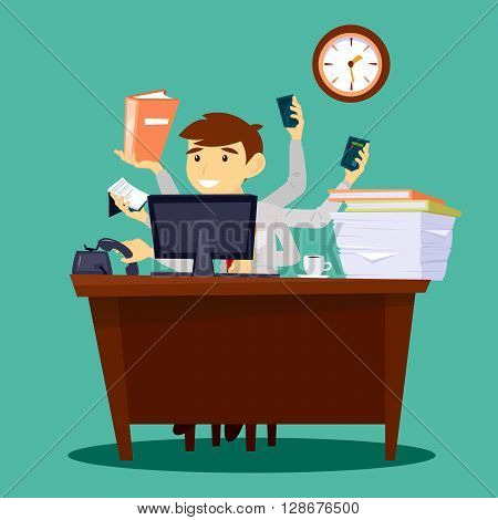 Multitasking Businessman at Work in Office. Successful Businessman Vector illustration