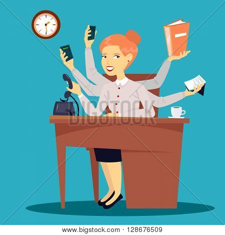 Successful Businesswoman. Multitasking Business Lady at Work in Office. Vector illustration