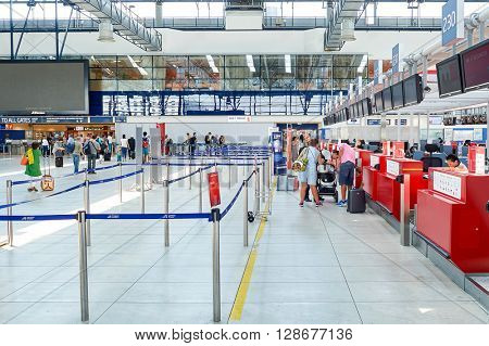 PRAGUE, CZECH REPUBLIC - AUGUST 04, 2015: inside of International airport of Prague. International airport of Prague is major airport of Czech Republic