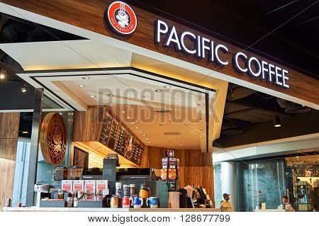 HONG KONG - JUNE 03, 2015: Pacific Coffee cafe interior. Pacific Coffee Company is a Pacific Northwest U.S.- style coffee shop group originating from Hong Kong