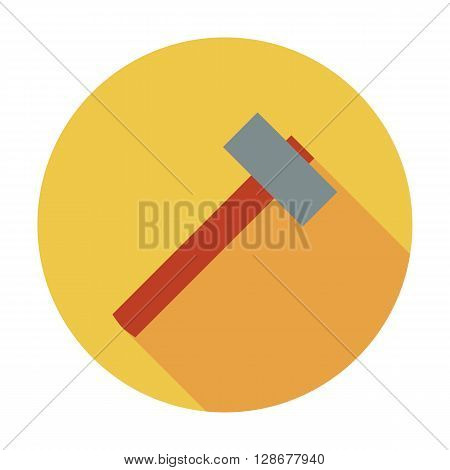 Hammer icon. Flat vector related icon whit long shadow for web and mobile applications.