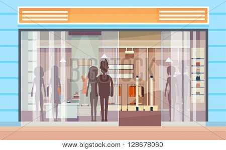 Shopping Window Modern Luxury Shop Exterior Flat Design Vector Illustration