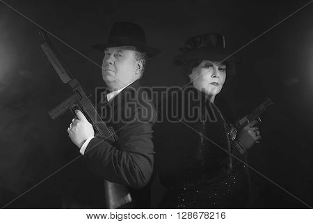 Vintage 1940S Gangster Couple. Black And White Classic Portrait.