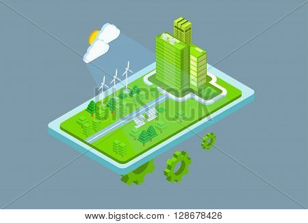 Green Station Solar Energy Panel Wind Turbine Tower Recycle Technology Battery 3d Isometric Vector Illustration