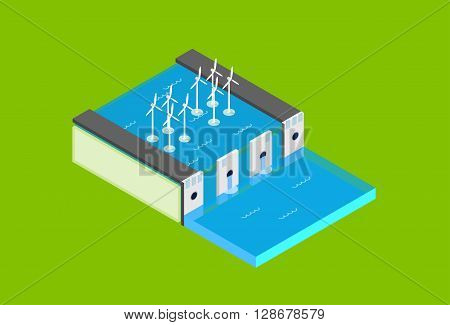 Water Dam Electric Station Wind Turbine Tower  Recycle Technology Top View 3d Isometric Vector Illustration