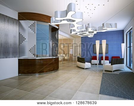 School hall in contemporary style. 3D render