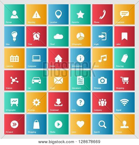 Universal colorful web icons set for internet or mobile aplications. Basic symbols illustrations with meanings.