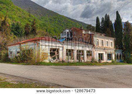 Gagra Abkhazia Georgia - April 3 2016: Abandoned restaurant