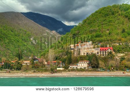 View of mountains and old town Gagra Abkhazia HDR processing