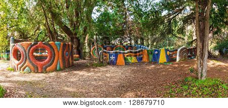 Gagra, Abkhazia, Georgia - April 3, 2016: Panoramic view of the stone playground in the park on sunny day