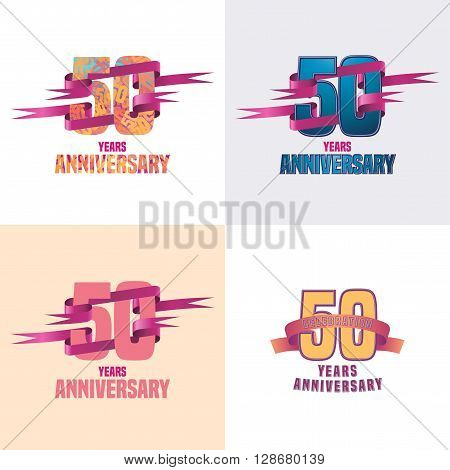 50 years anniversary vector icon set. 50th celebration design collection