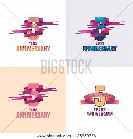 5 years anniversary vector icon set. 5th celebration design collection