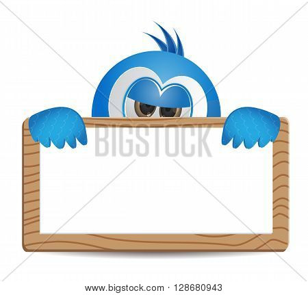 cute bird illustration peeking behaind the banner text box