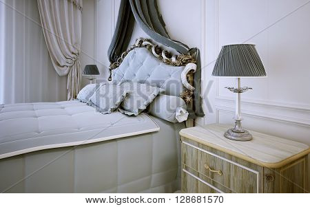 Idea of bright bedroom in neoclassic style. 3D render
