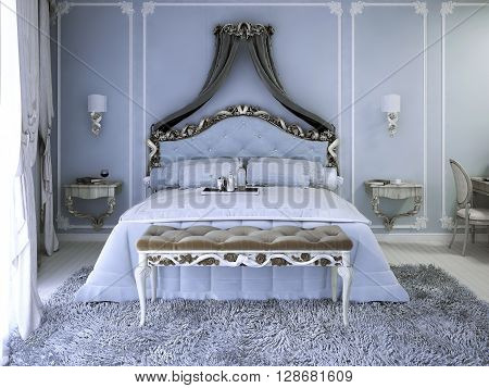 Double bed with curtain in luxury royal view bedroom with pale blue walls. Tick pile grey carpet and upholstery bench with white wood carcas near elegant double bed. 3D render