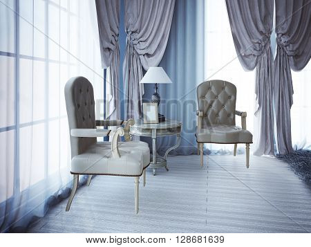 Relax place near window in bedroom. White laminate flooring. 3D render