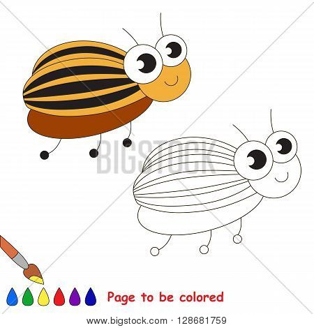 Cute colorado potato beetle to be colored. Coloring book for children. Visual game.