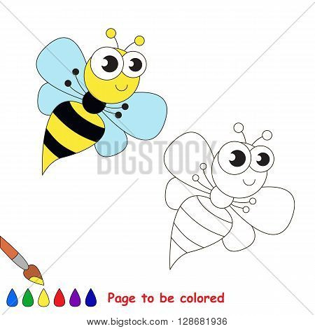 Funny wasp to be colored. Coloring book for children. Visual game.