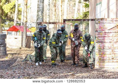 Saint-Petersburg, Russia - April 24, 2016: Paintball tournament in Snaker club between student teams from five universities. Start mission.