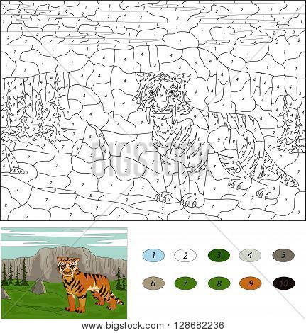 Saber-toothed Tiger. Color By Number Educational Game For Kids