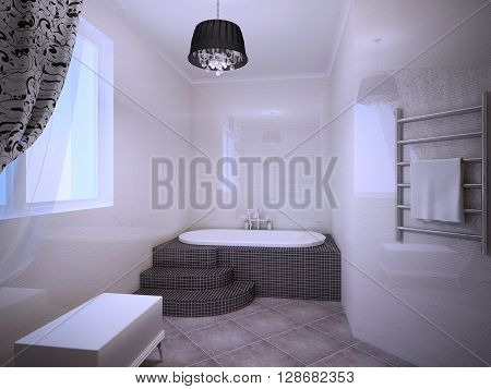 Beautiful bathroom with jacuzzi in art deco style. Light peach colored walls. 3D render