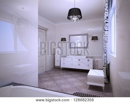 Inspiration for modern bathroom in light colors. Pale apricot theme. 3D render