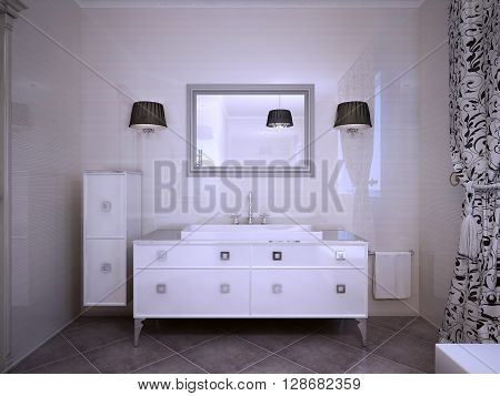 Glossy white furniture in bathroom modern style. Shiny walls large mirror with sconces both side. 3D render