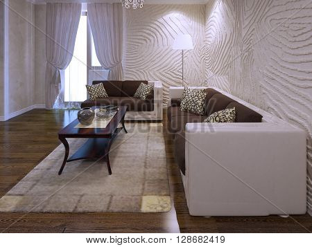 Living room in avant garde trend. Wavy plaster walls two sofas in brown color. 3D render