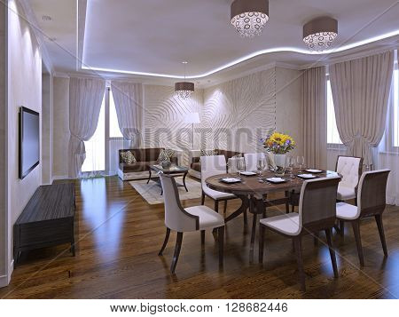 Beautiful living room studio with dining table. 3D render