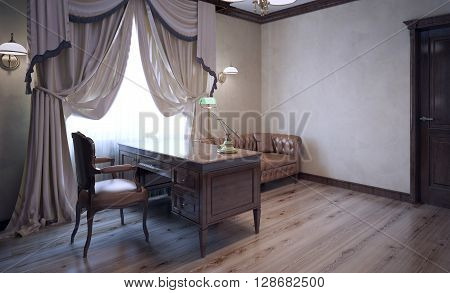 Meeting room in english house. Ecru plaster walls dark brown furniture. Bright contrast. Massive curtains in modern interior. 3D render