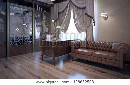 Boss office in modern style. Brown color in interior. Dark brown oak furniture and leather sofa. Pale brown laminate flooring. 3D render