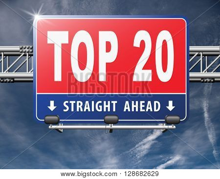top 20 charts list pop poll result and award winners chart ranking music hits best top twenty quality rating prize winner sign