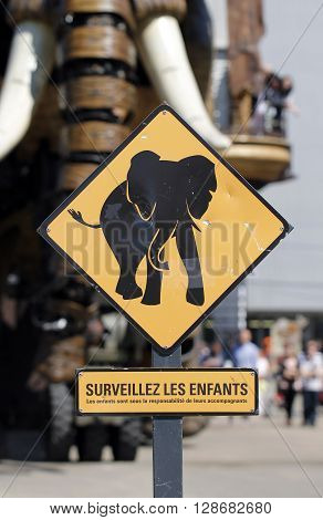 Nantes, Loire Atlantique/France, May 5, 2016 - Elephant roadsign in front of the big mechanical elephant from