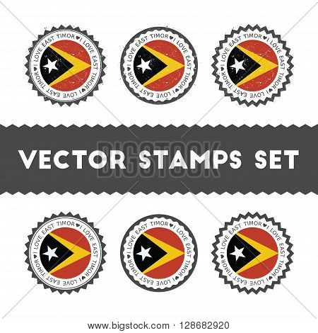 I Love Timor-leste Vector Stamps Set. Retro Patriotic Country Flag Badges. National Flags Vintage Ro