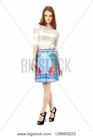 Full Length Portrait Of Beautiful Girl In Skirt Isolated