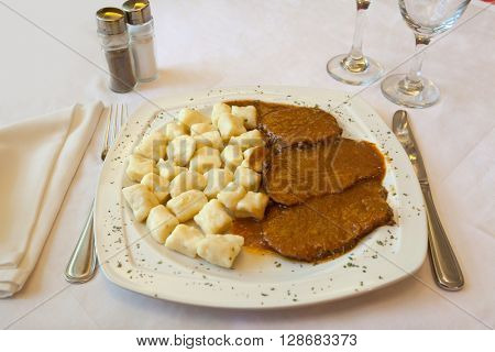 Croatian traditional cuisine, Pasticada With Gnocchi - Dalmatian Pot Roast or beef stew