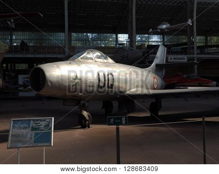 BRUSSELS-OCT. 1: An Ouragan MD-450 antique military airplane is seen at the Royal Museum of the Armed Forces and Military History in Brussels Belgium on October 1 2015.