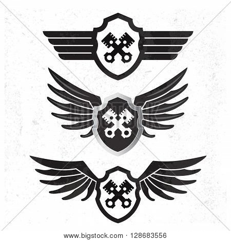 Automotive Wing  Logo Set. Vector Illustration