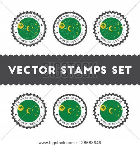 I Love Cocos (keeling) Islands Vector Stamps Set. Retro Patriotic Country Flag Badges. National Flag