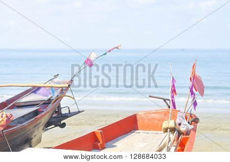 boat , sea , beach and sky background
