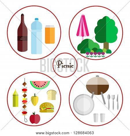 picnic icon set with four components of a picnic: food drinks utensils and grill nature isolated on white background