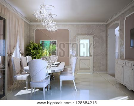 Bright interior of modern living room in retro style. Art deco white furniture. Fabric upholstered dining chairs. 3D render